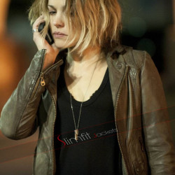 Ani Bezzerides True Detective Brown Leather Jacket
