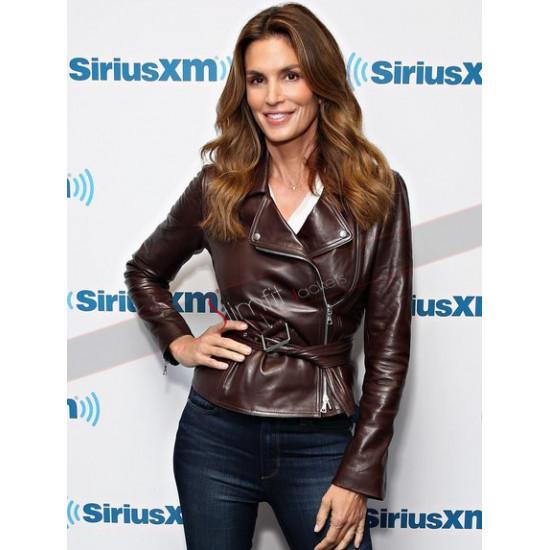 Cindy Crawford Brown Leather Jacket