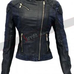 Black Denim Style Leather Jacket