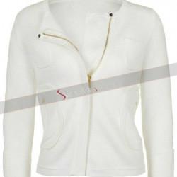 White Collar Less Jacket For Women