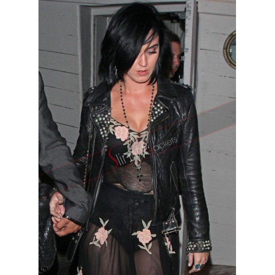 Katy Perry Motorcycle Black Leather Jacket